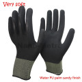 NMSAFETY 13 gauge super soft sandy water pu palm coated gardening glove