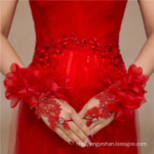 Red fingerless lace beading appliques high quality bridal wedding lace gloves
