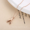 Personalized Lucky Choker Pendant Wishbone Necklace