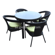 Utomhusborstad Aluminium UV Wicker Dining Set