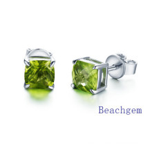 Natural Peridot Square Stud Earrings
