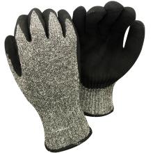 NMSAFETY анти-вырезать уровень 8 7 калибровочных анти-вырезать, покрытая оболочкой нитрильного Сэнди на плам рабочие перчатки