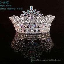 Coronas y tiara redondos del desfile del rhinestone al por mayor de AB