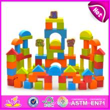 2014 blocs de construction en bois jouet pour enfants, blocs de jouets en bois créatifs pour enfants, blocs de construction jouets préscolaires pour bébé W13A057