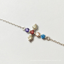 925 sterling silver gold-plated colorful cubic zircon cross necklace pendant bracelet