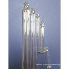 Прямой круглый шар прозрачного стекла пипеток с лампой