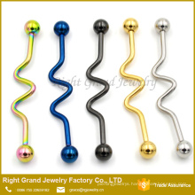 Customized Surgical Steel Rainbow Blue Titanium Plated Wave Ear Industrial Barbell