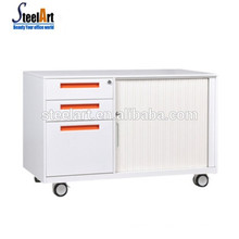 Mobile metal storage cabinet with drawers and lockers