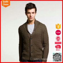 Hot selling long sleeves cashmere shawl neck mens cashmere cardigan sweaters