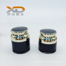 Wholesale black and gold round acrylic lotion airless bottle and with airless pump cream jar customized