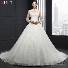 Q-021 Vestido De Noiva Vestido De Noiva Branco Personalizado Vestido De Noiva De Tulle Romântico Vestido De Casamento De Sequins De Lace