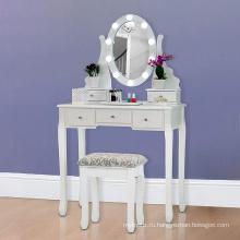 Белый туалетный столик с табуреткой и светодиодными огнями с 5 ящиками и зеркальным комодом