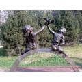 Jardin décoration métal artisanat vie taille paix ange bronze garçon et fille sculpture