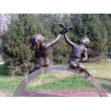 Garten Dekoration Metall Handwerk Leben Größe Frieden Engel Bronze Jungen und Mädchen Skulptur