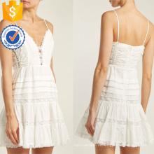 Correa de espagueti de encaje de algodón blanco Mini vestido de verano Fabricación al por mayor de prendas de vestir de las mujeres de moda (TA0293D)