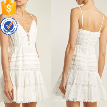 White Cotton Lace Spaghetti Strap Mini Summer Dress Manufacture Wholesale Fashion Women Apparel (TA0293D)