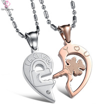 2018 Wholesale Women Rose Gold Jewelry Necklace set, Heart Couple Clover Chain Pendant Stainless Steel Necklace