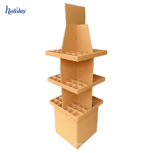 Free Standing Corrugated Cardboard Wine Glass Display Cabinet For Supermarket