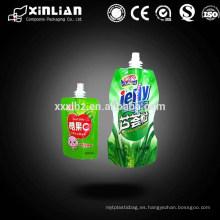 China precio de fábrica claro bebida stand up spout bolsa