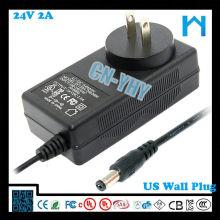 24V 2A настенный адаптер 48 Вт UL только для внутреннего использования