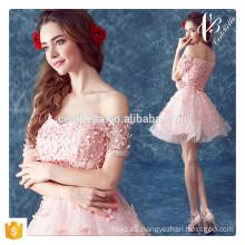 Vestido de partido rosado de la raya de la manera del vestido de bola de la mujer de los vestidos del estilo del globo de la ropa de las mujeres rosadas 2016