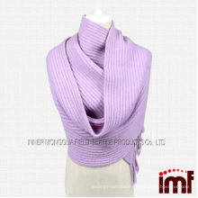 Bulk Wholesale-Customized Women Lilac 100% Wool Knit Scarf for Winter