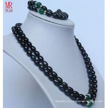 Комплект ожерелья перлы способа 2strands черный (ES1318)