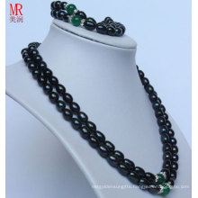 2strands Fashion Black Nature Pearl Necklace Set (ES1318)