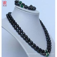 2strands Fashion Black Nature Pearl Necklace Set (ES1318)