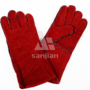 Red Double Plam CE Welding Safety Glove with Leather Grade a/Ab/Bc