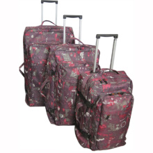 2014designer useful luggage trolley bags set with flower pr