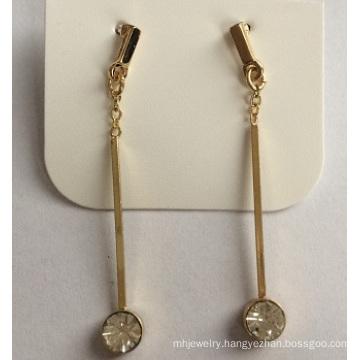 Simple Gem Earrings with Metal