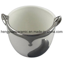Electroplating Fox Shape Ceramic Flower Pot for Home Furnishings