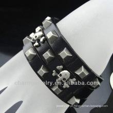 Bracelete quente do couro do marrom do encanto do crânio 2014 da venda para homens BGL-013