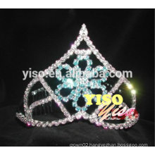 beautiful blue colored fashion rhinestone flower tiara