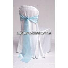 Couverture de chaise de polyester maillot de banquet utilisé avec ceinture en satin