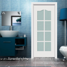 Interior white powder room wood door with 8 frosted glass room, bathroom french door ( S1-1007 )