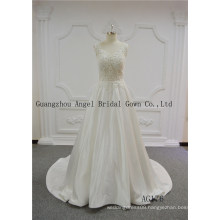 Sexy See Throught Beading Lace A Line Satin Wedding Gown