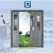 Porte en acier à double vitrage avec vitres latérales