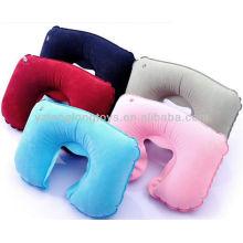 ECO-friendly 5 cores sólidas flocagem travesseiro inflável pescoço