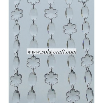 Decorative Acrylic Crystal Oval and Snowflake Beaded Garland for Holiday