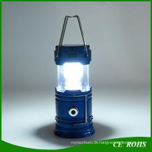 Faltbare Solar Camping Taschenlampe Notlicht wiederaufladbare Solar Laterne mit USB-Ausgang Funktion