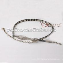 Ceinture de mode féminine pavée de strass en PU avec le meilleur design en gomme en chaîne de YIWU DISHA