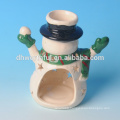 Santa claus / snowman ceramic tealight candle holder