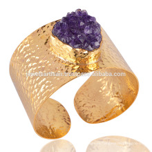 Amatista Druzy pulsera de pun ¢ o de moda pulsera chapada en oro