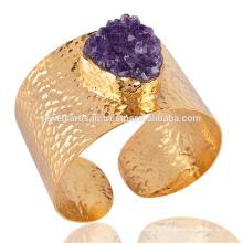 Bracelet à manchette en forme d'améthyste Druzy Bracelet plaqué or