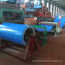Automatic simple hydraulic metal 0.3-3.2x1600 high precision stainess color strip steel coil slitting line for steel coils
