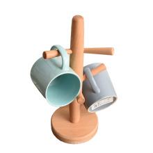 Mug tree Hooks Holds wooden Coffee Cup Holder