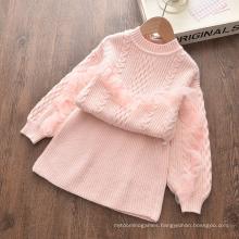 2021 New Girls′ Autumn/Winter Sweater Stylish Two-Piece Sweater Skirt Set