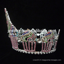 Beauté Reine Couronne Tiaras forme gâteau Strass Grande vieille anniversaire Couronnes